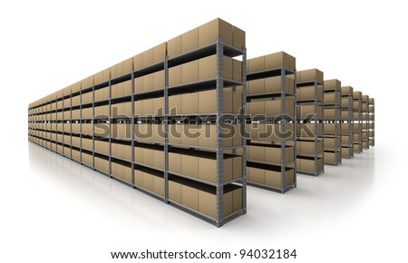 View of warehouse with many racks and boxes