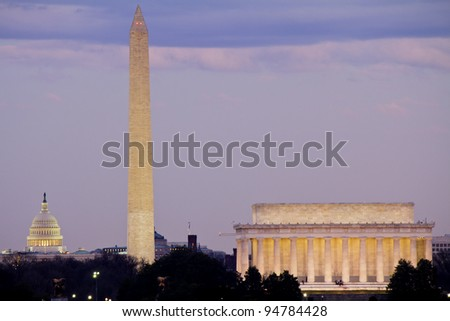 View of Washington DC at dusk with Capitol, Washington Monument and Lincoln Memorial in line