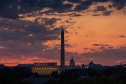 View of Washington DC Skyline before thunderstorm in summer at sunrise, Eashington DC
