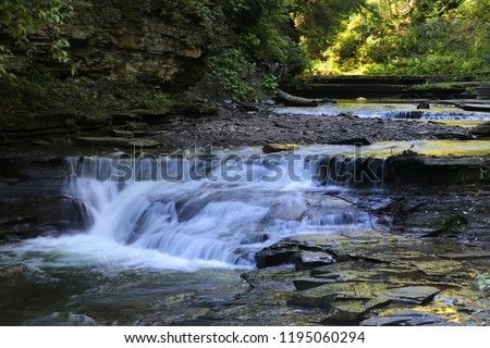 Photo of  View of water falls along the Gorge Trail on the Stony Brook River in Stony Brook State Park, Dansville, New York.