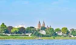 View of Wesseling on the banks of the Rhine River, Germany, Europe