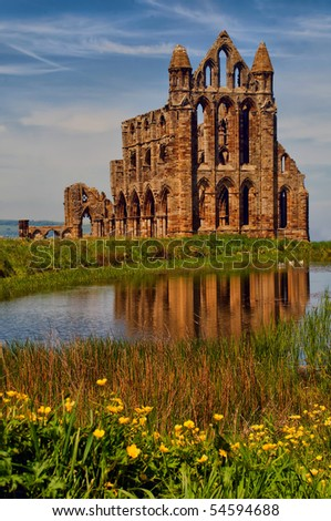 View of Whitby Abbey over the pond