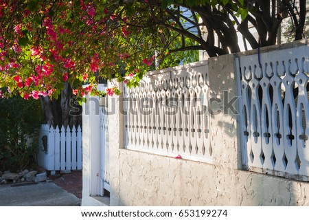 View of white ornate fence with blooming purple bougainvillea in Key West, Florida Keys, USA.