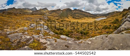View of wilderness and rocks in Trikora region in Papua, Indonesia. In this region, one can only meet people from isolated local tribes. #544502542