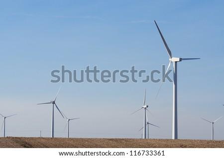 view of  windmills for renewable electric  energy production, Pozuelo de Aragon, Saragossa province, Aragon, Spain