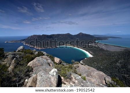 View of Wineglass Bay from Mt Amos -Freycinet National Park Tasmania