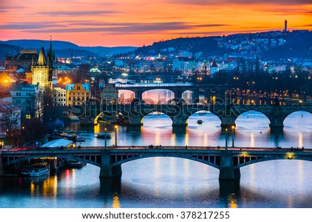 View of winter Prague in Czech republic #378217255