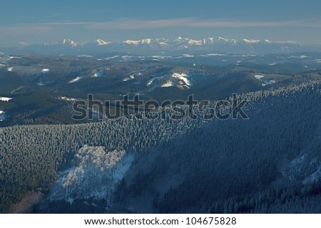 View of winter range Beskyd and High Tater