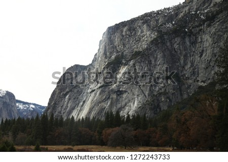 View of Yosemite National Park in the winter at USA.