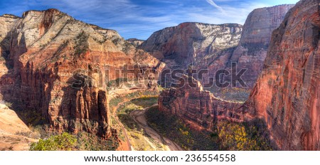 View of Zion Canyon from Angels Landing,in Zion National Park, Utah. #236554558