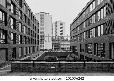 View of Zurich Universtiy buildings. Black and White version.