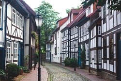 View oh Hameln old town with market square and traditional german houses, Lower Saxony, Germany