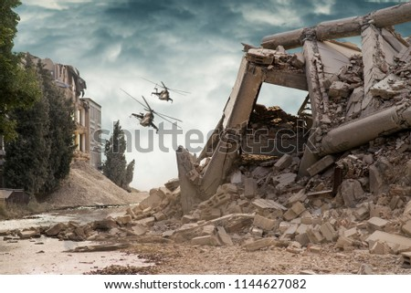 View on a collapsed concrete industrial building with attack helicopters in dark dramatic sky above.