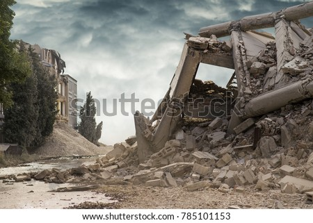 View on a collapsed concrete industrial building with dark dramatic sky above. Damaged house.