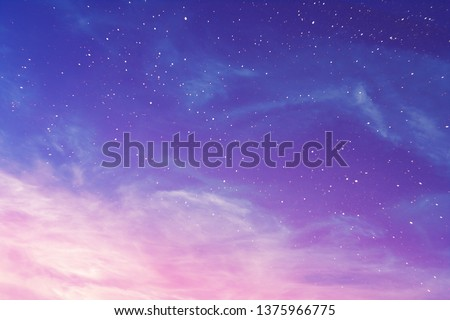 View on a evening purple sky with cirrus clouds and stars (background, abstract) #1375966775