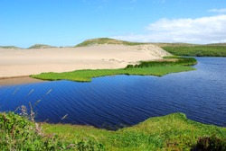 View on Abbotts Lagoon on the northwestern coast of the Point Reyes National Seashore in Marin County on California's north central coast