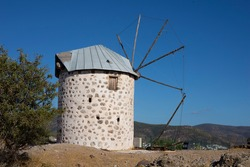View on an old ruined greek windmill in Bodrum, Turkey