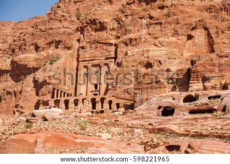 View on ancient tombs and temples in in a rock Petra, Jordan.