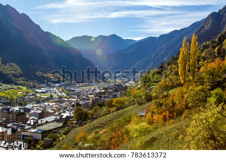 View on Andorra La Vella in the valley of Pyrenees mountains, Andorra.