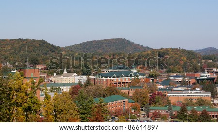 View on Appalachian state university campus in Boone, NC