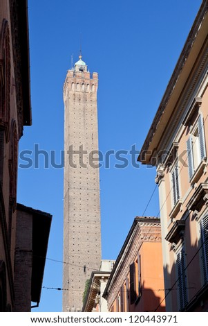 view on asinelli tower through via Santo Stefano in Bologna, Italy