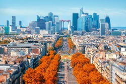 View on avenue de la Grande Armee and modern district of La Defense from Arc de Triomphe in Paris