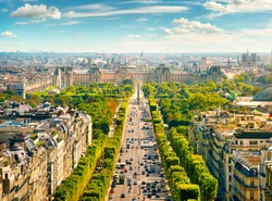View on Avenue des Champs Elysees from Arc de Triomphe in Paris, France