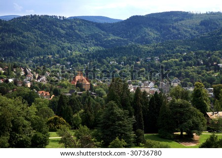 View on Baden-Baden and Schwarzwald's range in Germany.