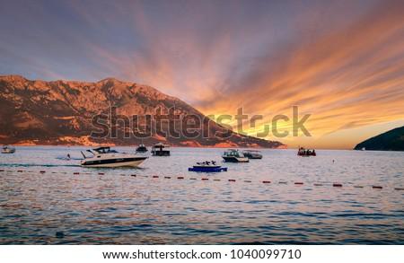 View on beautiful island at sunset #1040099710