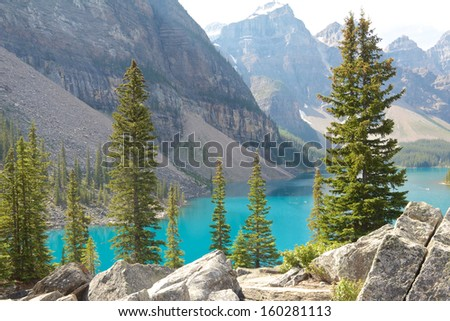 View on beautiful Moraine Lake and a mountain range of the Rocky Mountains in Alberta, Canada