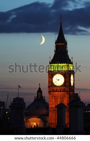 view on big ben and the moon by night