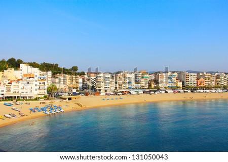 View on Blanes in summertime. Costa Brava, Girona.