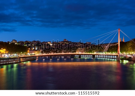 View on Bridge of the Palace of Justice in Lyon, France.