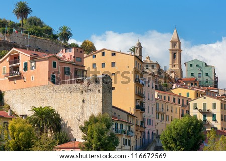 View on buildings of Ventimiglia, Italy.