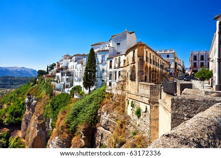 View on canyon and old city of Andalusia in Spain - stock photo