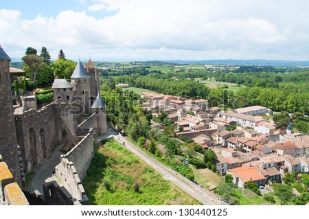 View on Carcassone city from castle wall