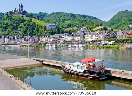 view on castle under town Cochem  on the Moselle's left bank in Germany.