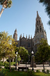 View on Catedral de Arucas, Las Palmas, Canary Islands at the sunny day