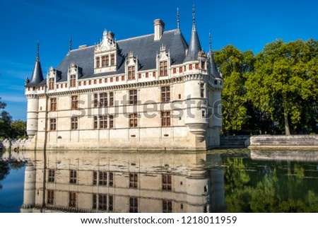 View on Chateau d'Azay-le-Rideau at sunny afternoon, Loire valley, France. #1218011959