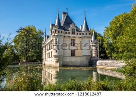 View on Chateau d'Azay-le-Rideau at sunny afternoon, Loire valley, France. #1218012487