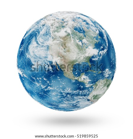View on Cloudy North America. Earth Planet Isolated on white background. Elements of this image furnished by NASA. 3D Rendering