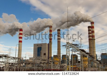 View on coal power station in Poland, Europe. Heavy industry.