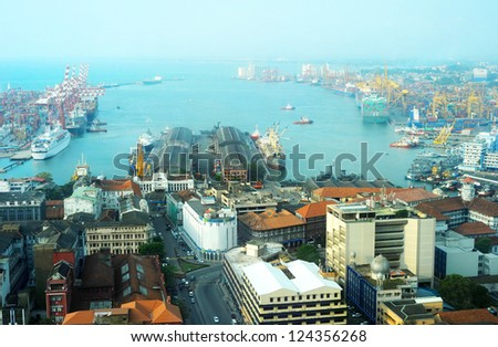 View on Colombo harbor from WTC Colombo. Sri Lanka