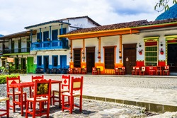 View on colonial architecture in the picturesque town of Jardin, Antioquia, Colombia