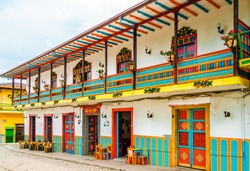 View on colonial buildings in the street of Jardin, Colombia