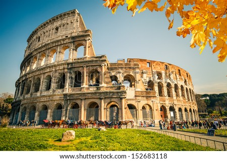 View on Colosseum in Rome Italy