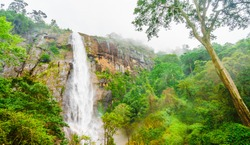 View on Diyaluma water fall Sri lanka located betwenn Wellawaya and Haputale