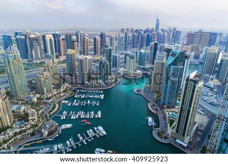 View on Dubai Marina skyscrapers and the most luxury superyacht marina,Dubai,United Arab Emirates