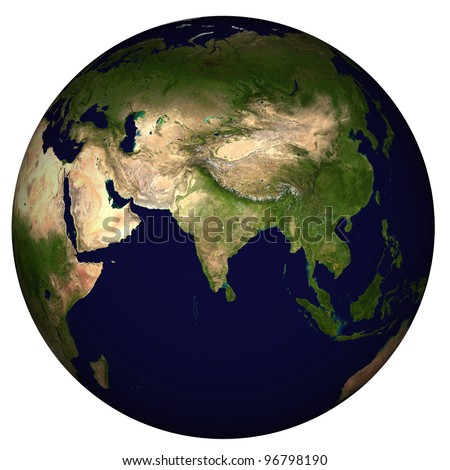 View on Earth, centered on India