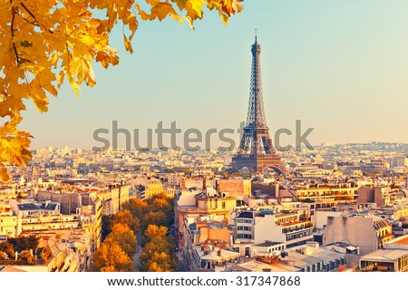 Shutterstock View on Eiffel tower at sunset, Paris, France